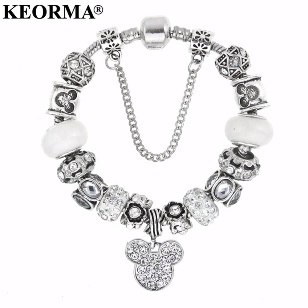 2016 New Fshion Wholesale Jewelry Glass Crystal Beads Bracelets for Women with Mouse Head Pendant Bracelet Christmas Gift bracelet