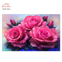Gloden Panno,5D,diy diamond embroidery,Full,round,Diamond Painting,Cross Stitch,3D,diamond,Mosaic,Needlwork,Crafts,floral,rose
