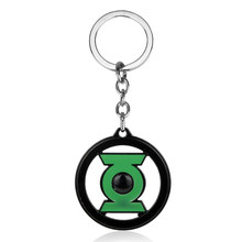 HEYu Jewelry Dc Comics Superhero Green Lantern Keychain Hollow Green Lantern Pendant Key Chain Key Rings Wome Men Accessories(China)