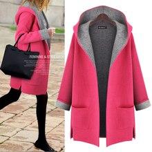 2015 Brand Winter Sweater Women Jacket Hooded Coat Large Size Cardigan Women Coat