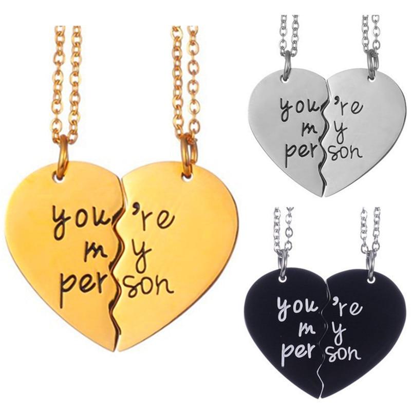 Two Halves Heart Necklace Pendant Love Couple Jewelry