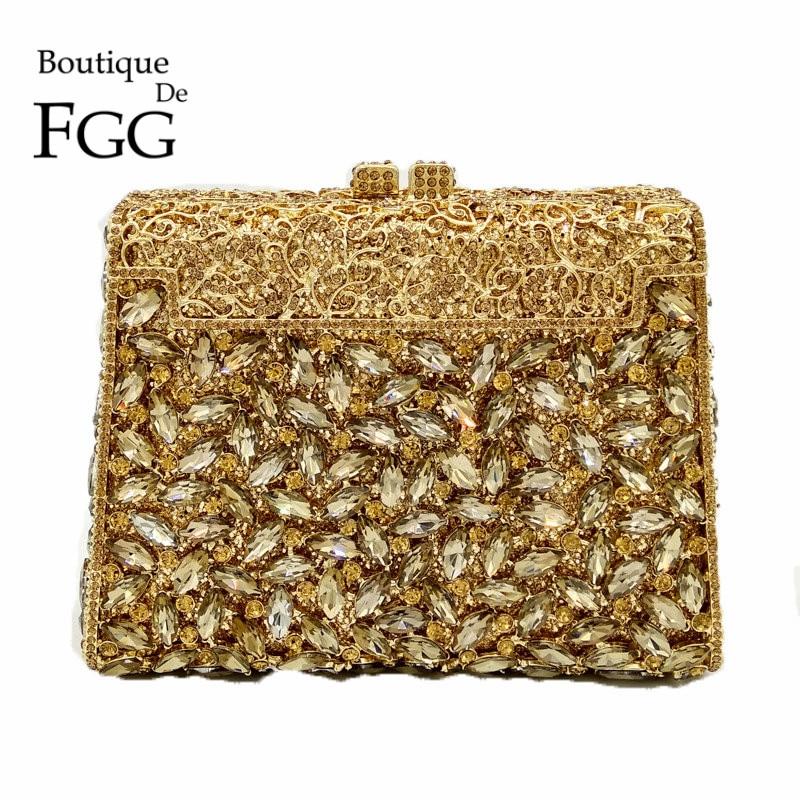 Diamond Rhinestones Women Gold Evening Bag Box Clutch Bridal Wedding Banquet Shoulder Handbags Purses Crystal Metal Clutches