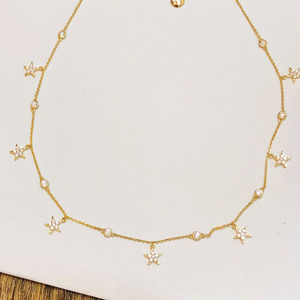 Image 3 - SLJELY Brand Design Real S925 Sterling Silver Yellow Gold Color Stars Necklace Micro Cubic Zirconia Women Fashion Party Jewelry
