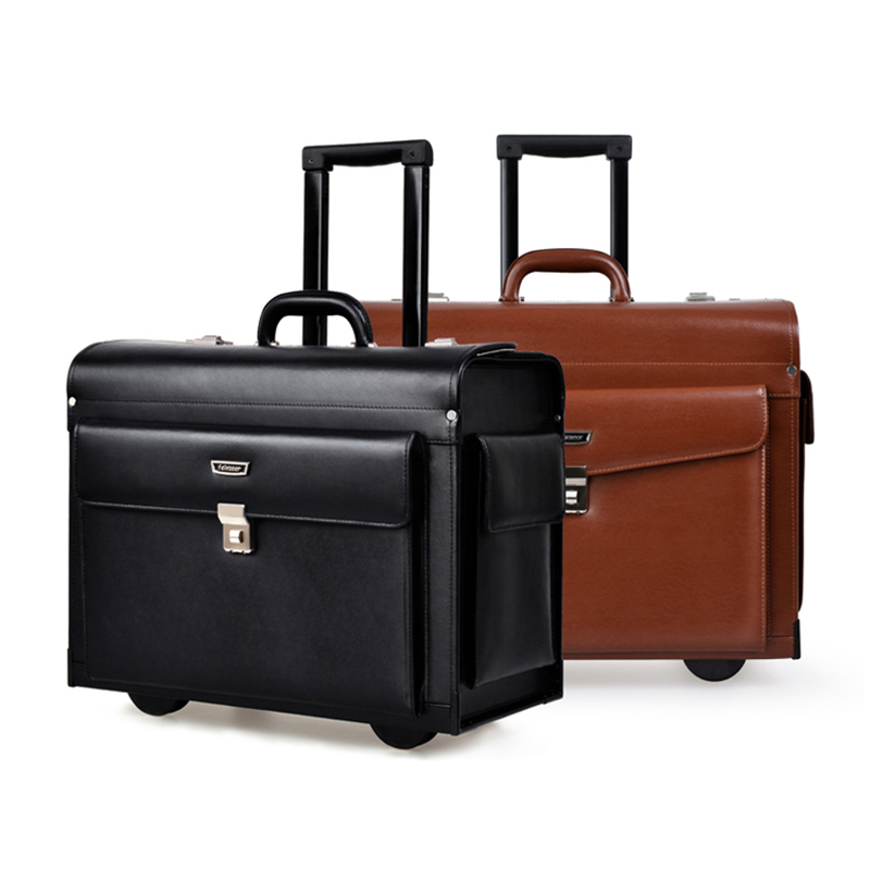 Luxury Leather Business Trolley Pilot Captain Rolling Luggage Women Fashion Travel Suitcase Men Boarding Case Black