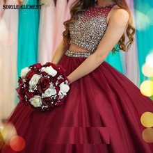 SINGLE ELEMENT Fashion Crop Top Two pieces Ball Gown Organza Prom Dresses