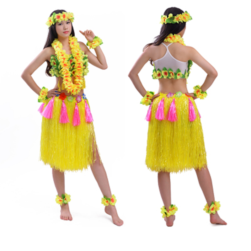 8pcs/set 60/80cm encryption thickening women hula skirt high quality Hawaiia lady grass skirt costumes Festive Party Supplies