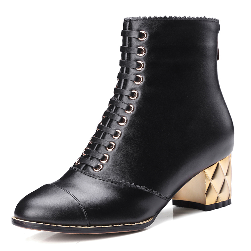 2017 Cow Genuine Leather Ankle Boots Platform Zip Lace Up Thick Heels Fall Winter Boots High Quality Women Shoes Woman