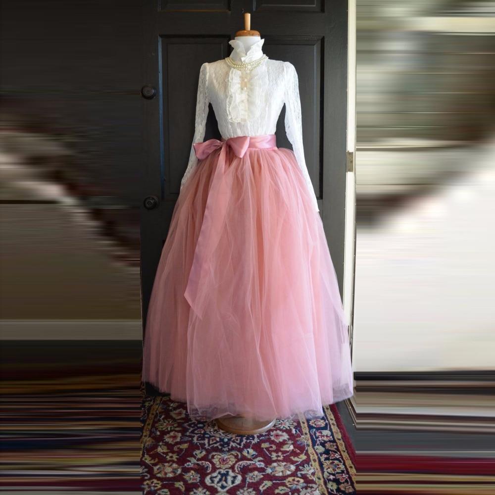 79e9e429b6 Blush Pink Full Tulle Skirt Real Photo Custom Made Ribbon Waistline A Line  Floor Length Long Maxi Skirt Tulle Skirts Women