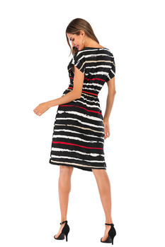 Summer Autumn Striped Dress Women Short Sleeve Sexy Casual Dress O-neck Stripe Women Pocket Elegant Dresses Plus Size 4