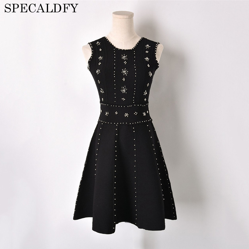 2018 Summer Luxury Brand Beading Sleeveless Knitted Dress Women Elegant Knitting A line Mini Dress Brand Tunic Dresses Vestidos цена и фото