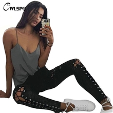 Sexy Fashion Women casual Pants Hollow Out Lace Up pencil Full pants women trousers pantalon femme pantalones mujer QL2789