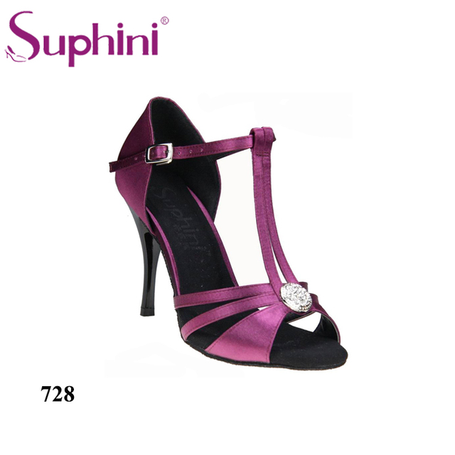 3810f646b FREE SHIPPING Suphini New Arrival Dance Shoes Purple Woman Party Dinner  Prom Shoes Big Crystal Tango Dance Shoes