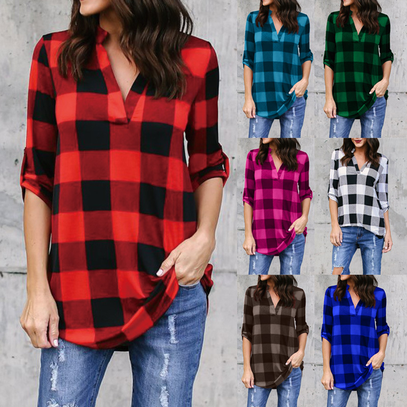 shirts womens new new plus size blouse woman shirt casual three quarter plaid clothes V-Neck female tops harajuku woman