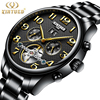 KINYUED Mechanical Watch Men Skeleton Automatic Steampunk Steel Mens Watches Top Brand Luxury Self Wind Wristwatch
