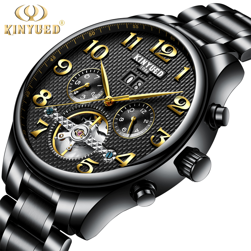 KINYUED Mechanical Watch Men Skeleton Automatic Steampunk Steel Mens Watches Top Brand Luxury Self-wind Wristwatch Montre Homme tevise men black stainless steel automatic mechanical watch luminous analog mens skeleton watches top brand luxury 9008g