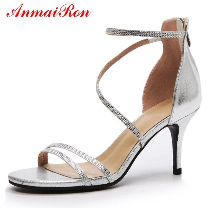 Tamaño Anmairon Ly720 Tacón Mujer Mujeres El Alto 39 34 Genuino Cremallera  Gold Casual Las sliver Básica Sandalias Zapatos ... 2fd70fcef41e
