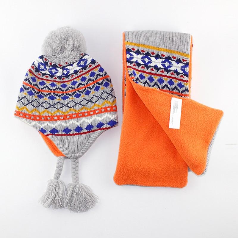 6M to 5 years baby & kids boys geometric print winter fleece beanie hats with scarf sets children fashion warm earflap hat scarf