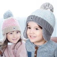 Children's knit baby hat winter color gradient boy girl baby hat new winter pompom wool hat child's cap lucky