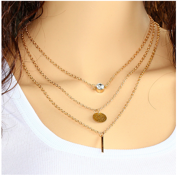 2016 Newly-made Women Fashionable Necklace One Set Of Three Link Chains For Ladies Different Patterns Pendant Necklace