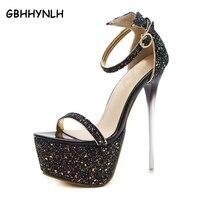 GBHHYNLH 2018 New Fashion Bling Gitter Platform Ultra High Heels Woman Shoes Nightclub Sexy Sandals Party
