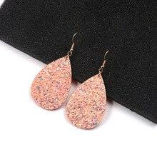 2018 Hot Fashion Glitter Teardrop Leather Earrings for Women Designer Jewelry Big Statement Wholesale