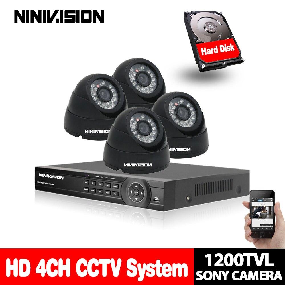 4CH video Surveillance System 720p 1080P HDMI USB 3G WIFI 4 channel CCTV System 4PCS SONY 1200TVL 1.0MP security Camera System