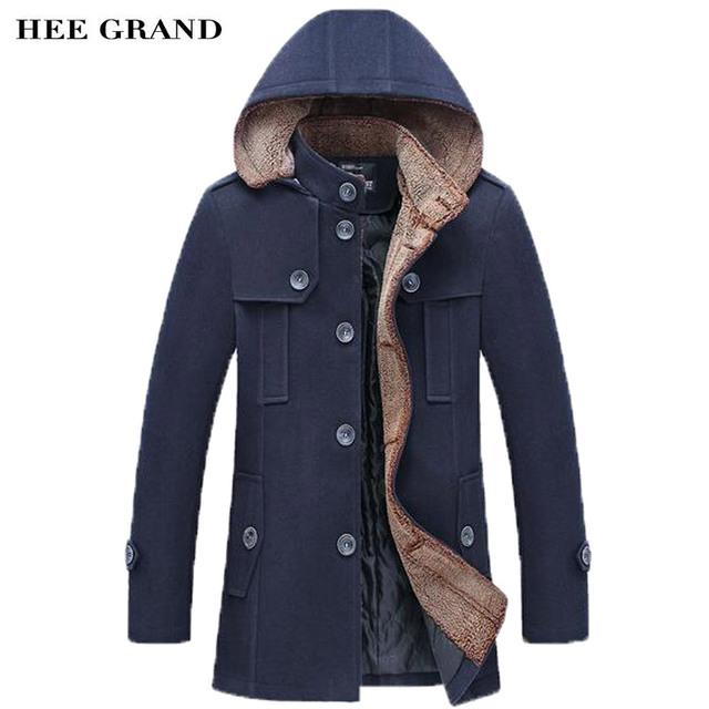 HEE grandes Homens Moda Estilo Grosso Quente Sobretudo De Lã Gola Único Breasted Com Destacável Hat Inverno Combina MWN251