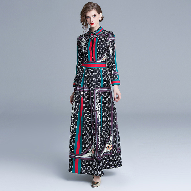 Runway Dresses 2018 Early Autumn Bohemian Boho Style Women Chic Dress  Floral Print Long Sleeve Slim Party Dress N7542-in Dresses from Women s  Clothing   ... 024555d6d07c