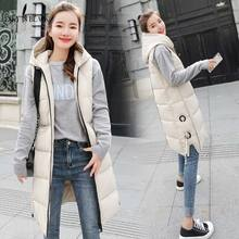 PinkyIsBlack New Winter Women Vest Jacket Hooded Thicken Warm Long Casual Cotton Padded Waistcoat Female Sleeveless
