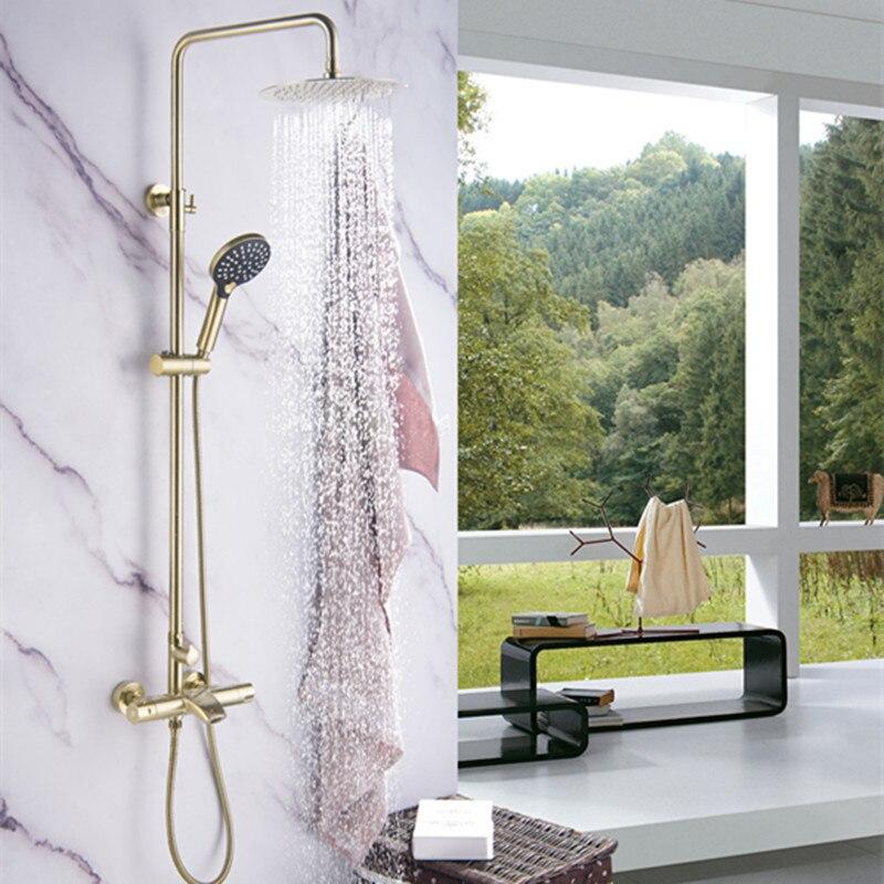 Robinet de douche de salle de bain robinet thermostatique en laiton massif mitigeur de douche avec douchette or brossé mélangeur froid et chaud