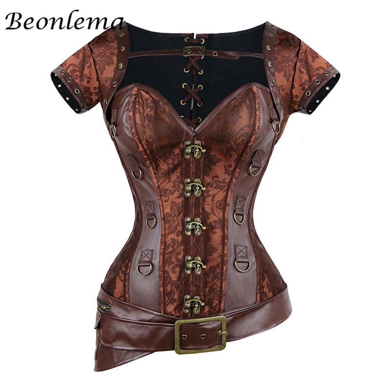 Steampunk   Corset   Sexy Gothic Women Vintage Retro Corselet Goth Lace Up   Bustiers   Korset Leather Plus Size Buckle Gorset Top 6XL