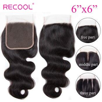 Recool 6x6 ciało fala koronki zamknięcie Pre oskubane z dzieckiem włosów brazylijski uzupełnienie splotu ludzkich włosów Top szwajcarska koronka zamknięcie bielić węzłów