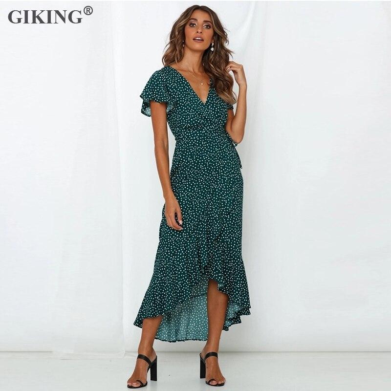 Kadın Giyim'ten Elbiseler'de GIKING Bohemian Çiçek yaz elbisesi Kadınlar Seksi V Yaka Bandaj Kısa Kollu Düzensiz Parti Elbiseler Kadın 2019 Tatil Vestidos title=
