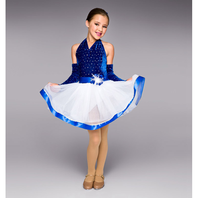 Robe de ballet de jazz de velours bleu de paillettes d'enfants avec la fleur de tête de gant, costumes de danse de jazz pour la robe de tulle de partie d'enfants de filles