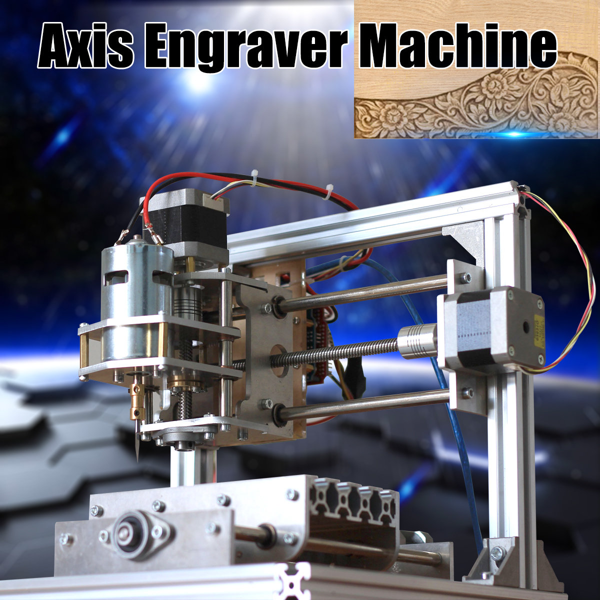 DIY Mini 24V 5A 3 Axis CNC Engraver Engraving Machine 130x100x40mm PCB Milling Wood Carving Engraving Router Kit for Grbl Board