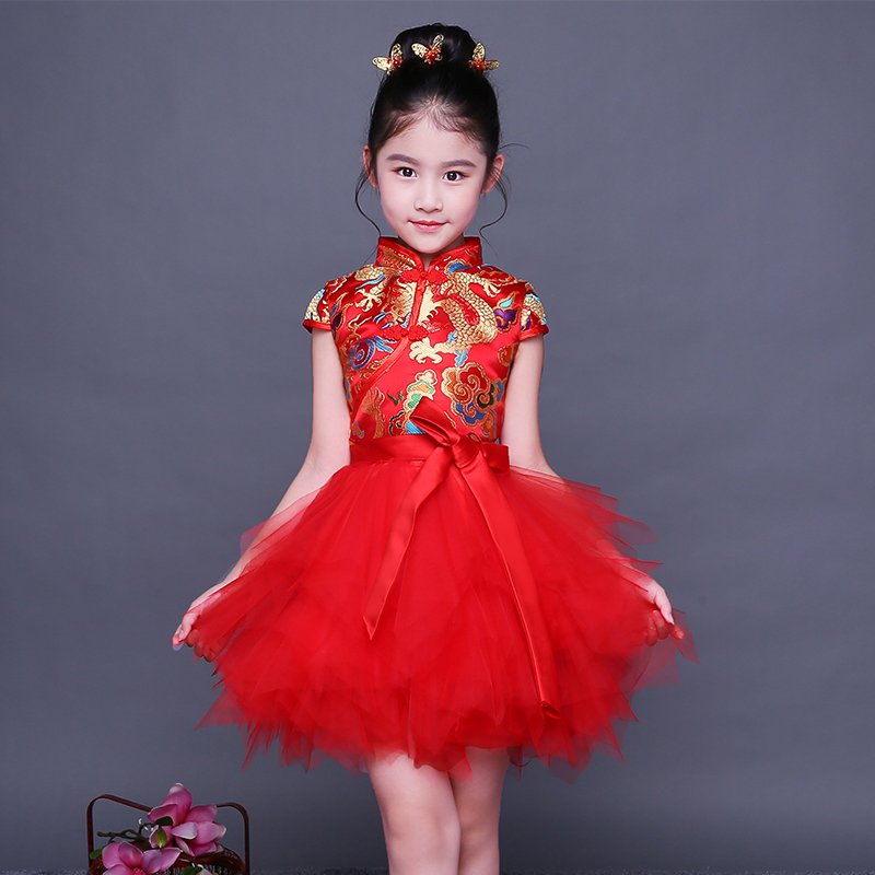 2017 autumn floral baby qipao girl dresses kid chinese style pao cheongsam year gift children's clothes free shipping new red hot chinese style costume baby kid child girl cheongsam dress qipao ball gown princess girl veil dress