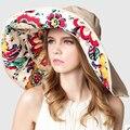 2017 Diseño de Moda Flor Plegable de Ala Ancha Dom Sombrero de Verano para Mujeres Protección UV Extraíble Sombrero de Playa Al Aire Libre Fácil de Llevar