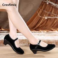 Cresfimix zapatos de mujer de moda de las mujeres zapatos de trabajo negro dama retro zapatos de danza cómodos Correa con hebilla femenina zapatos a568