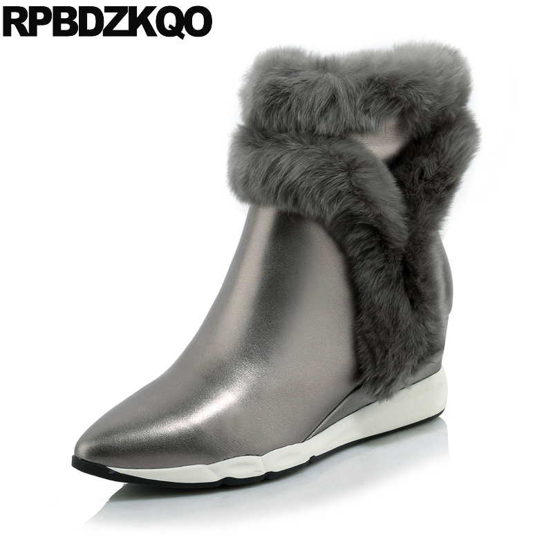 Gray Pointed Toe Fur Side Zip Boots Warm Wedge Luxury Booties Ankle Genuine Leather Shoes Winter Metallic Flat Real Female