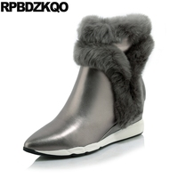 Gray Pointed Toe Fur Side Zip Boots Warm Wedge Luxury Booties Ankle Genuine Leather Shoes Winter