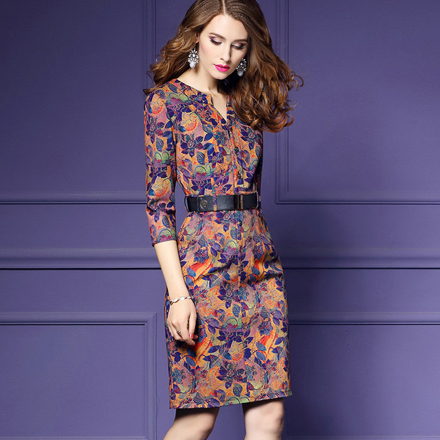 Elegant Vintage Print Dress
