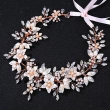 SLBRIDAL Wired Rhinestone Crystal Freshwater Pearls Wedding Headband Bridal Hair Vine Hair Accessories Bridesmaids Women Jewelry