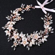 SLBRIDAL kablolu Rhinestone kristal tatlı su incileri düğün kafa gelin saç Vine saç aksesuarları nedime kadınlar takı