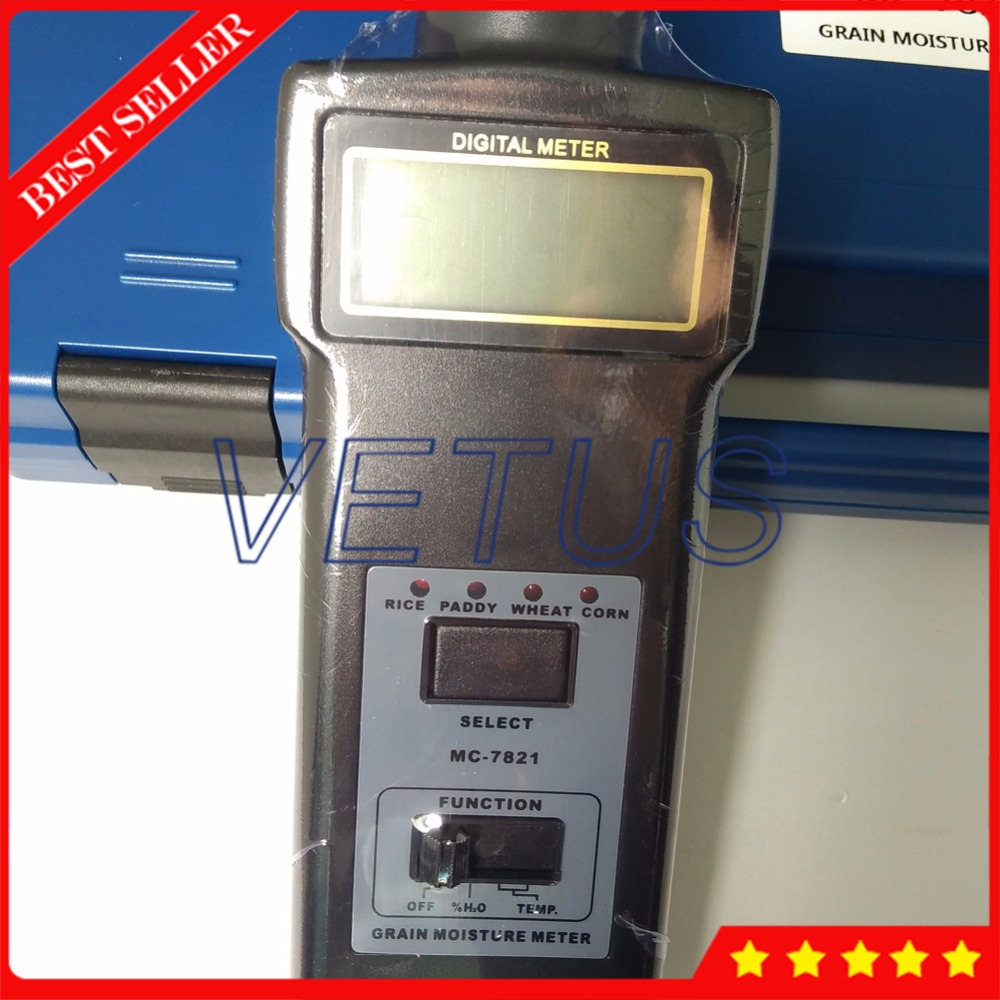 MC7821 4 Kinds Digital Grain Moisture Tester for paddy rice wheat corn moisture meter analyzer temperature measurement mc 7806 digital moisture analyzer price pin type moisture meter for tobacco cotton paper building soil