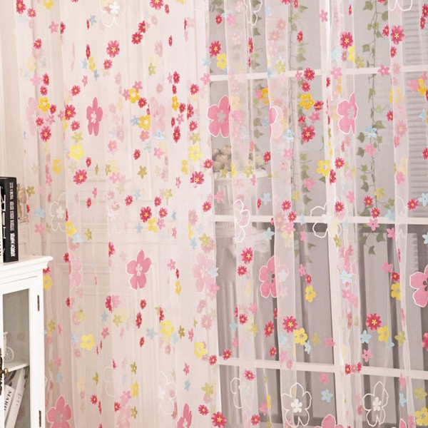 Floral Print Sheer Curtain Panel Window Balcony Tulle Room Divider Scarf Curtain