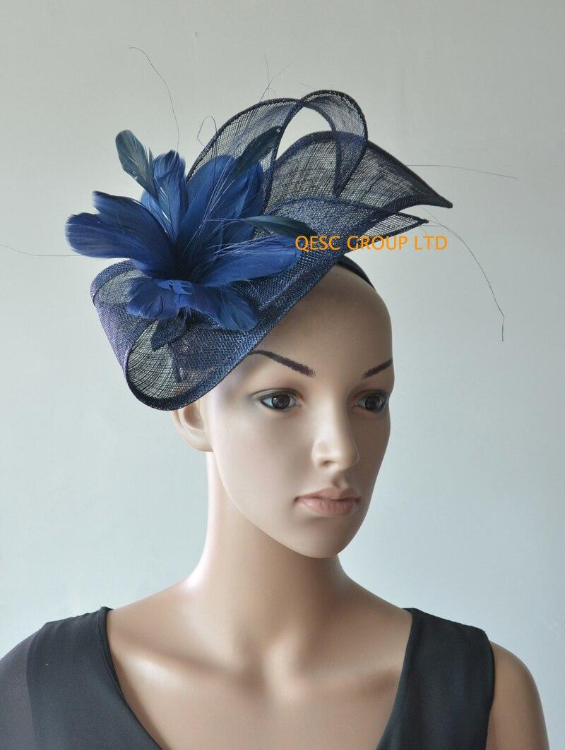Цвет. sinamay чародей шляпа перо чародей. темно-синий, ярко-розовый цвет, Королевский синий цвет, белый/черный цвет