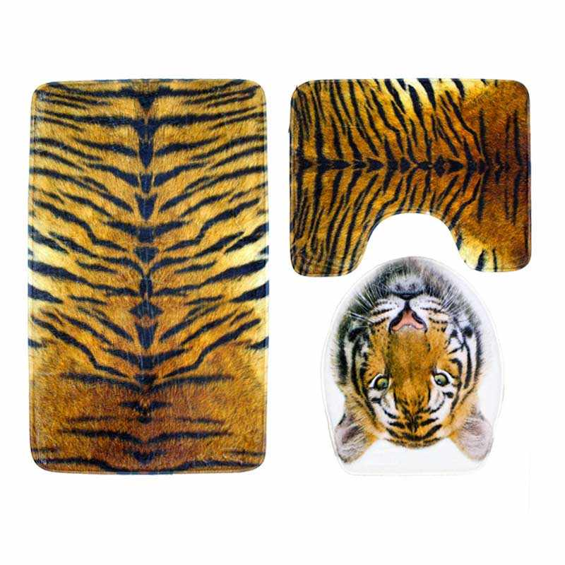 Tiger Leopard Print Bathroom Rug