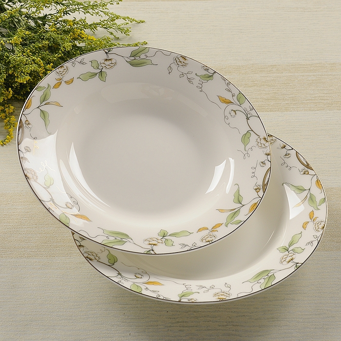8 Inch Bone China Soup Deep Plate Ceramic Wedding Plates