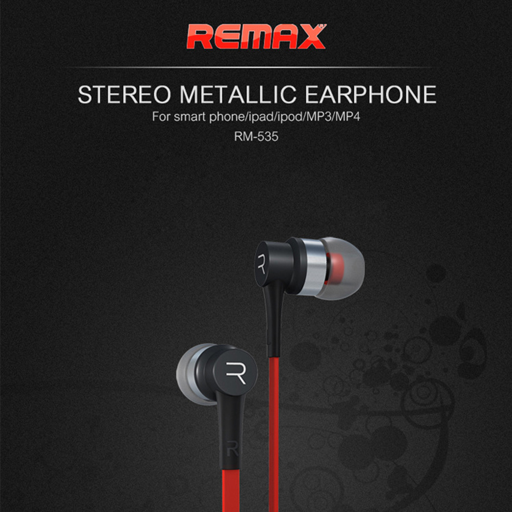 Original Remax RM 535i Fashion Earphone 3.5 with Mic In-Ear Wired AUX Sport Bass Stereo for iphone for XiaoMi mobile Phone mllse anime fairy tail cartoon in ear earphone portable aux wired stereo earbuds sport mic headset for iphone samsung xiaomi mp3