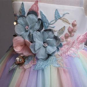 Image 5 - New Rainbow Girl Unicorn Tutu Dress Fancy Pony Unicorn Wedding Bridesmaid Costume for Kids Princess Carnival Party Dress Vestido